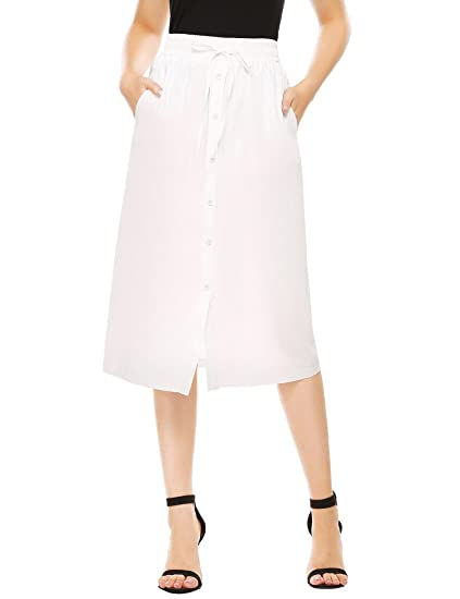 ae5cf8295cab SHINE Women's A-Line High Waisted Button Front Drawstring Pleated Midi Skirt  With Elastic Waist