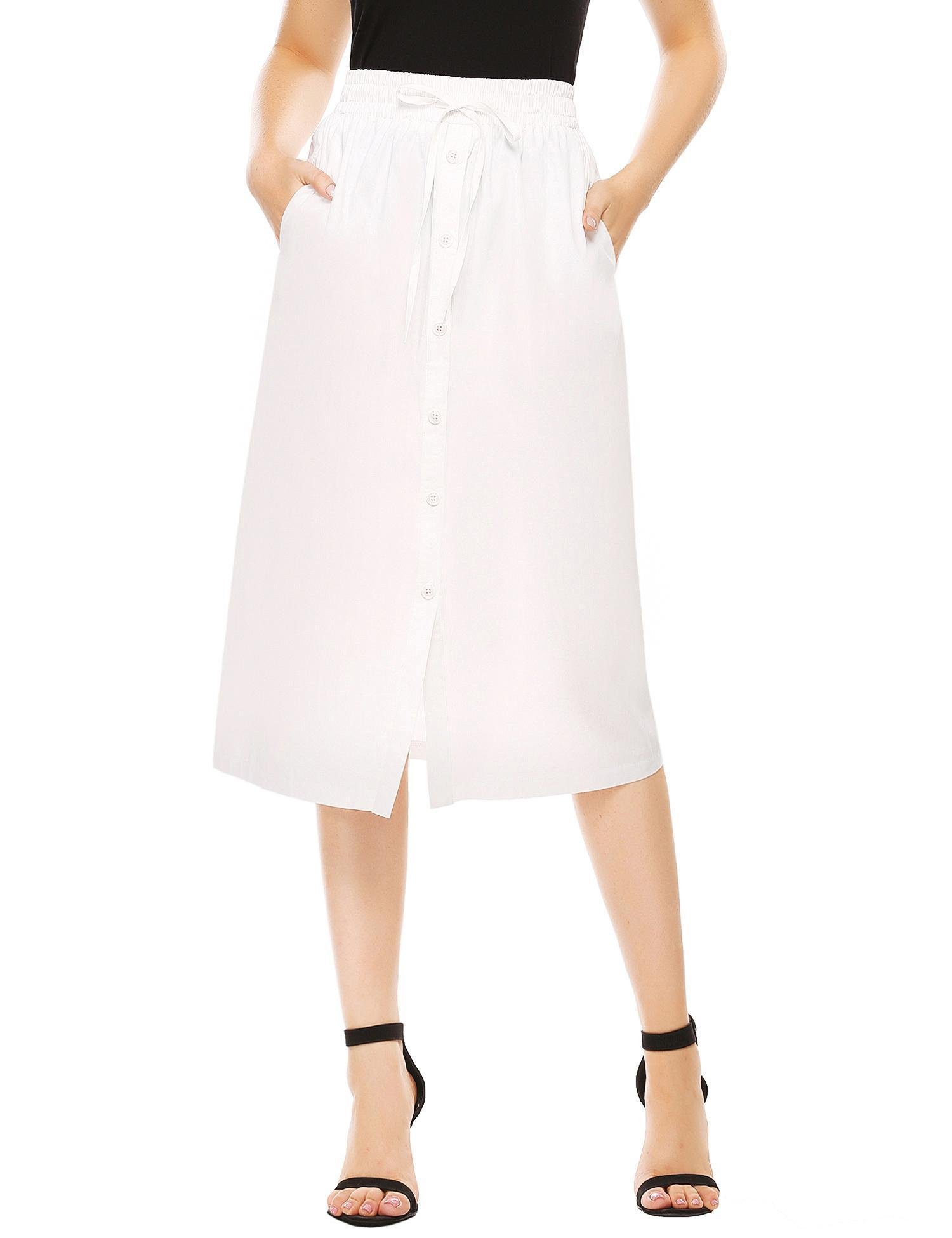 SHINE Women's A-Line High Waisted Button Front Drawstring Pleated Midi Skirt With Elastic Waist Knee Length, White, Medium