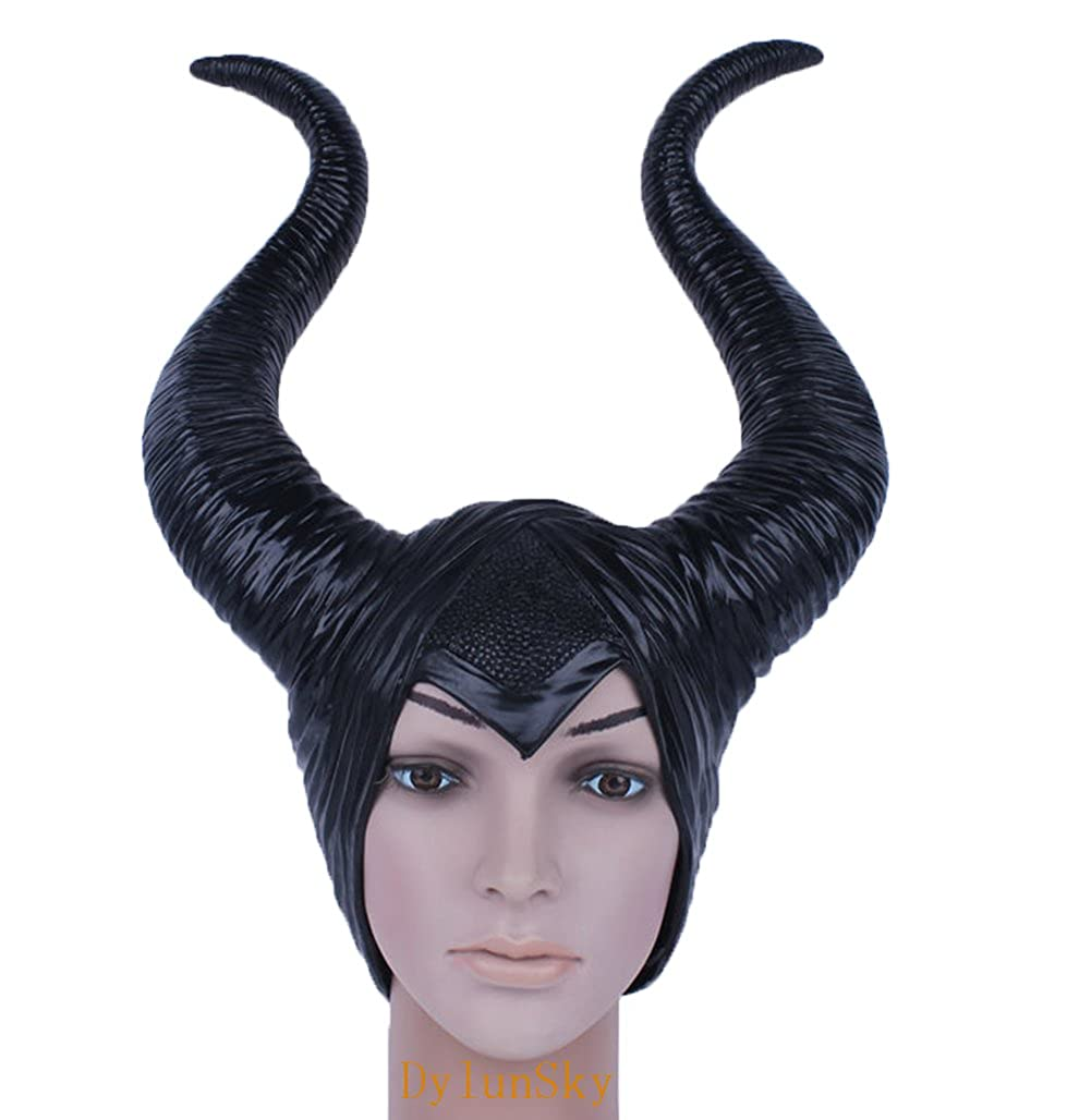 DylunSky New Halloween Black Long Horns Mask