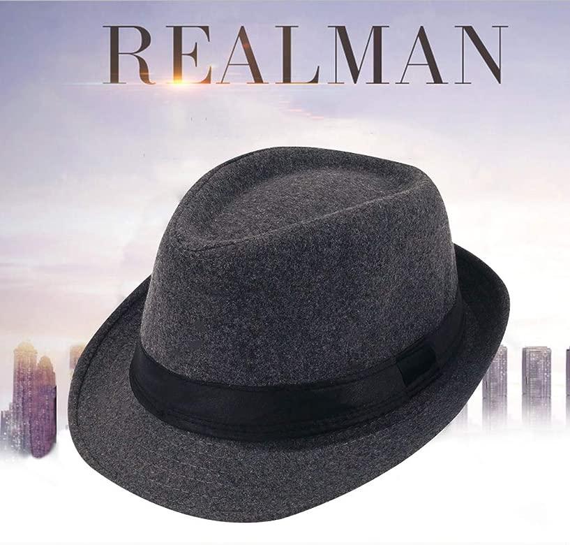 AIEOE - Sombrero Hombre Fieltro Panamá Británico Gorro Jazz con ala Ancha Hat Caballeros Elegante para Adulto Chicos Hombres Sombrero Invierno Cálido