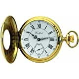 Woodford Swiss-Made Mechanical Half-Hunter Pocket Watch, 1010, Men's Deep Gold-Plated Separate Second-Hand Dial with Chain (Suitable for Engraving)
