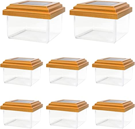 8 Pack of 4 x 4 Copper Outdoor Garden Solar Post Deck Cap Square Fence Lights