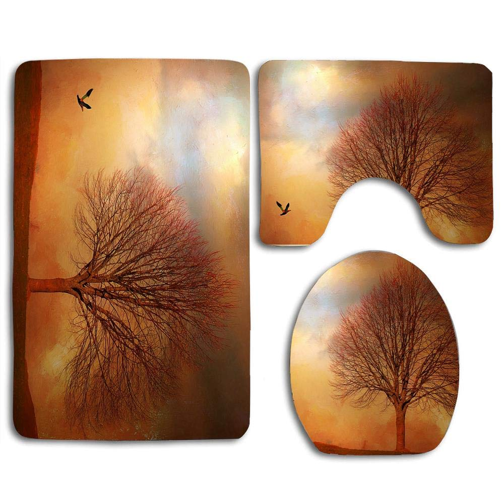EnmindonglJHO Autumn Tree Style Design Bathroom 3 Pieces Set 1 Bath Rug, 1 Contour Mat, 1 Lid Cover with Non-Slip Rubber Backing