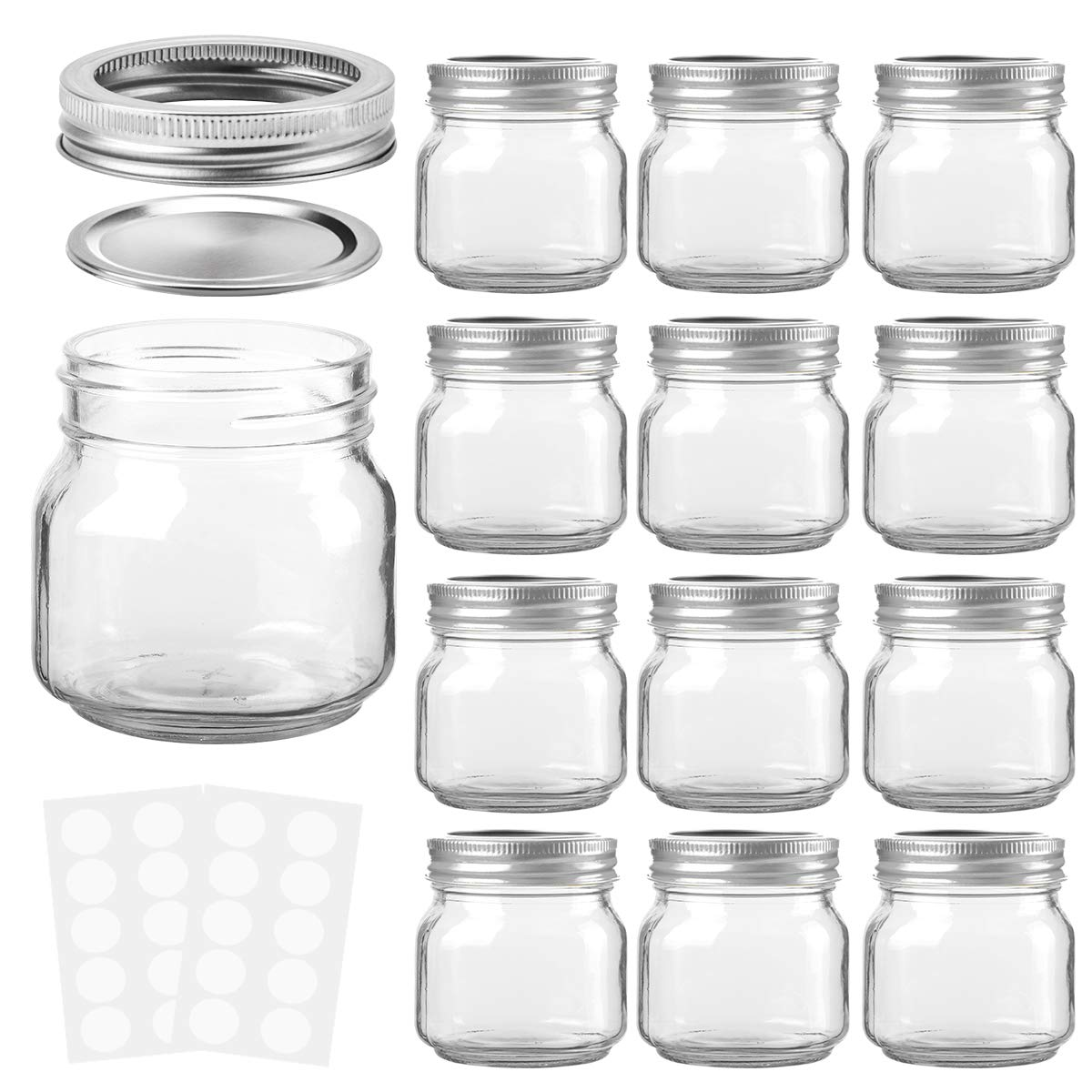 KAMOTA Mason Jars 8OZ With Regular Lids and Bands, Ideal for Jam, Honey, Wedding Favors, Shower Favors, Baby Foods, DIY Magnetic Spice Jars, 12 PACK, 20 Whiteboard Labels Included