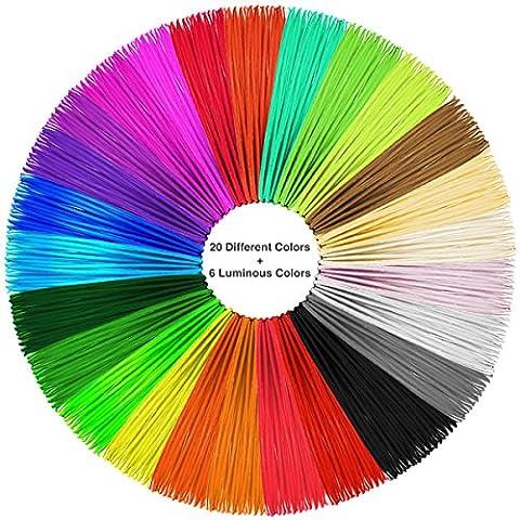 Kaotoer PLA 3D Pen Filament Refills 26 Colors- 1.75mm PLA 32 Feet Each Color 850 Linear Feet Includes 6 Glow in the Dark 4 Fluo - 16 Linear Feet
