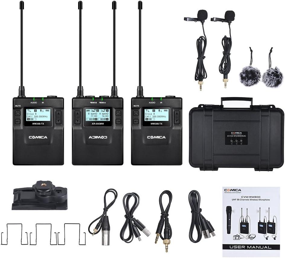 Comica CVM-WM300(A) 96 قناة زنك UHF قابلة لإعادة الشحن نظام ميكروفون مزدوج لاسكلي لكاميرات Canon Nikon Sony Panasonic DSLR ، كاميرا فيديو XLR والهواتف الذكية (مدى 394-قدم) (2TX+1RX)
