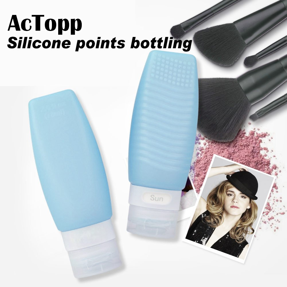 [FDA TSA Certificated] Silicone Travel Bottle Set BPA Free Squeezable Refillable Leak Proof Soft Bottle for Shampoo, Cream, Conditioner and Body Care - Set of 3pcs 78ml/bottle