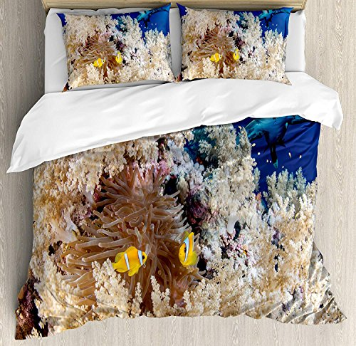 Shark 4 Piece Bedding Set King Size, Reef with Little Clown Fish and Sharks East Egyptian Red Sea Life Scenery Food Chain, Duvet Cover Set Quilt Bedspread for Childrens/Kids/Teens/Adults, Blue Cream