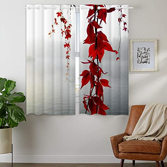 HommomH 42 x 63 inch Curtains 2 Panel Grommet Top Darkening Blackout Room Red Grey Leaves Flowers Fog