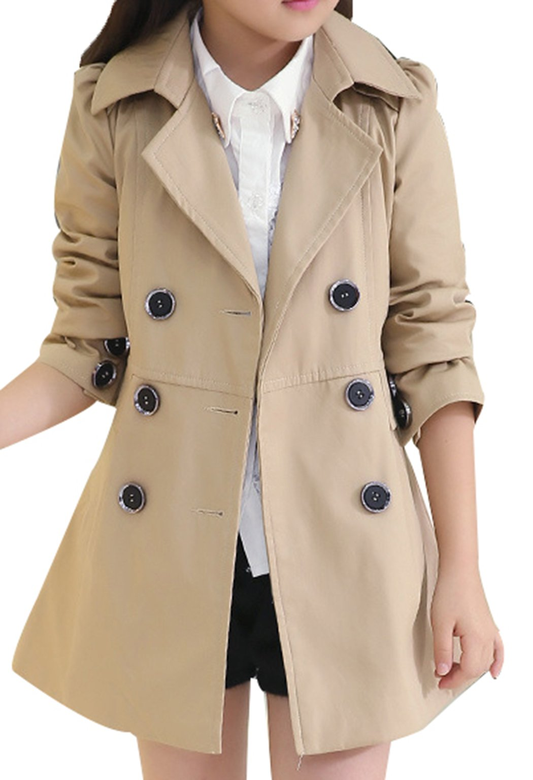 JiaYou Girl Child Kid Lapel Double Breasted Outwear Pea Trench Coat(Brown,height 47-51Inches)