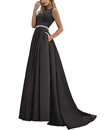 0d9bf465ca MARSEN Long Prom Dresses with Pockets Satin Beaded A-Line Evening Ball Gowns  for Women