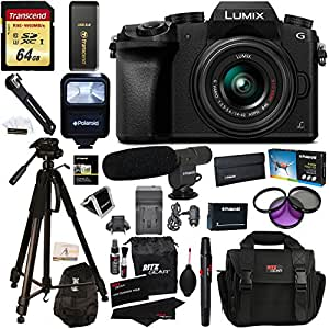 "Panasonic DMC-G7KK Digital Single Lens Mirrorless Camera 14-42 mm Lens Kit, 4K + Accessory Bundle + Transcend 64 GB + Polaroid 72"" Tripod + Microphone + Polaroid Flash + Filter Set + Battery + More"