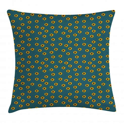 (Ambesonne Sunflower Throw Pillow Cushion Cover, Graphic Flower Figures Kids Nursery Style Meadow Nature Pattern, Decorative Square Accent Pillow Case, 36 X 36 Inches, Dark Teal Yellow and Brown)