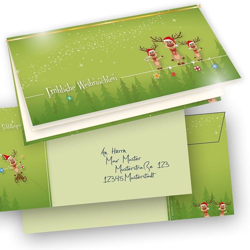 TATMOTIVE PREMIUM Weihnachtskarten ein Klappkarten Set Rentiere  Briefumschläge, 265 G QM, 100-tlg. 25 Karten 25 Einlegeblätter 25 Goldschnüre 25 Umschläge - Waldgrün B00NXOEO5C   Stil    Sale Online Shop    Exquisite (mittlere)