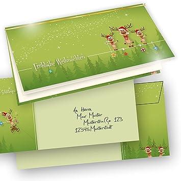 Einlegeblätter Für Weihnachtskarten.Tatmotive Weihnachtskarten Ein Klappkarten Set Rentiere Briefumschläge 265 G Qm 200 Tlg 50 Karten 50 Einlegeblätter 50 Goldschnüre 50