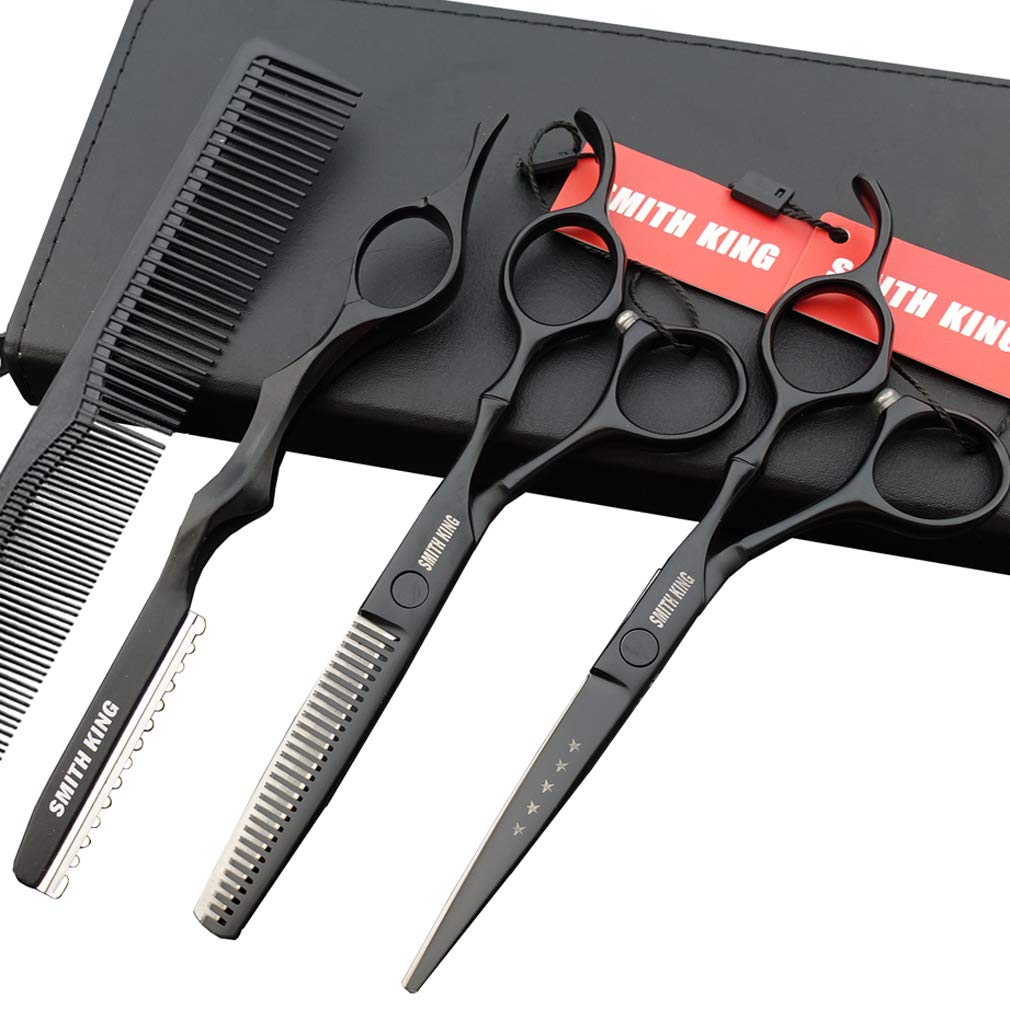 6.0 Inches Professional hair cutting thinning scissors set with razor (Black) : Beauty