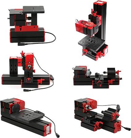 KKmoon - Mini herramienta multifuncional 6en1, sierra, fresadora, taladro, perforadora, amoladora, triturador, torre de madera / metal, 100–240V