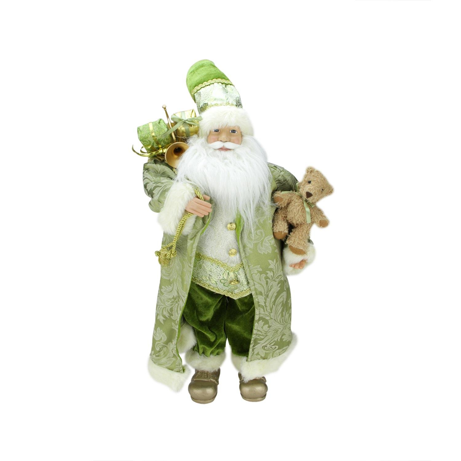 Northlight St. Patrick's Irish Standing Santa Claus Christmas Figure with Teddy Bear and Gift Bag