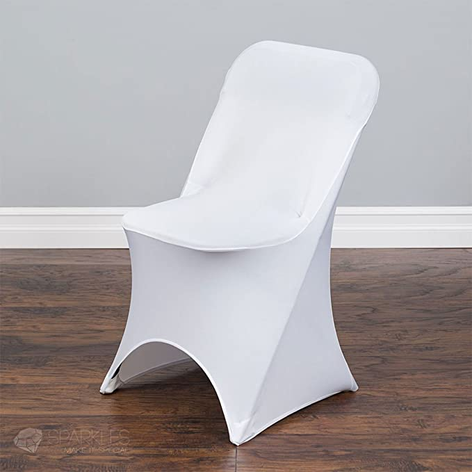Sparkles Make It Special 20 pc Spandex Folding Arched Front Chair Covers - Wedding Reception Banquet Party Restaurant - White