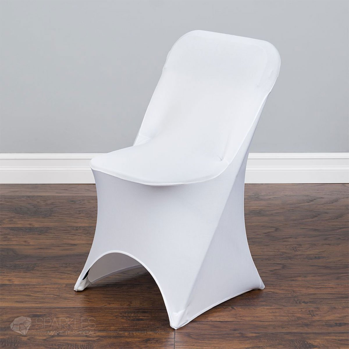 Sparkles Make It Special 50 pc Spandex Folding Arched Front Chair Covers - Wedding Reception Banquet Party Restaurant Universal Fitted - White