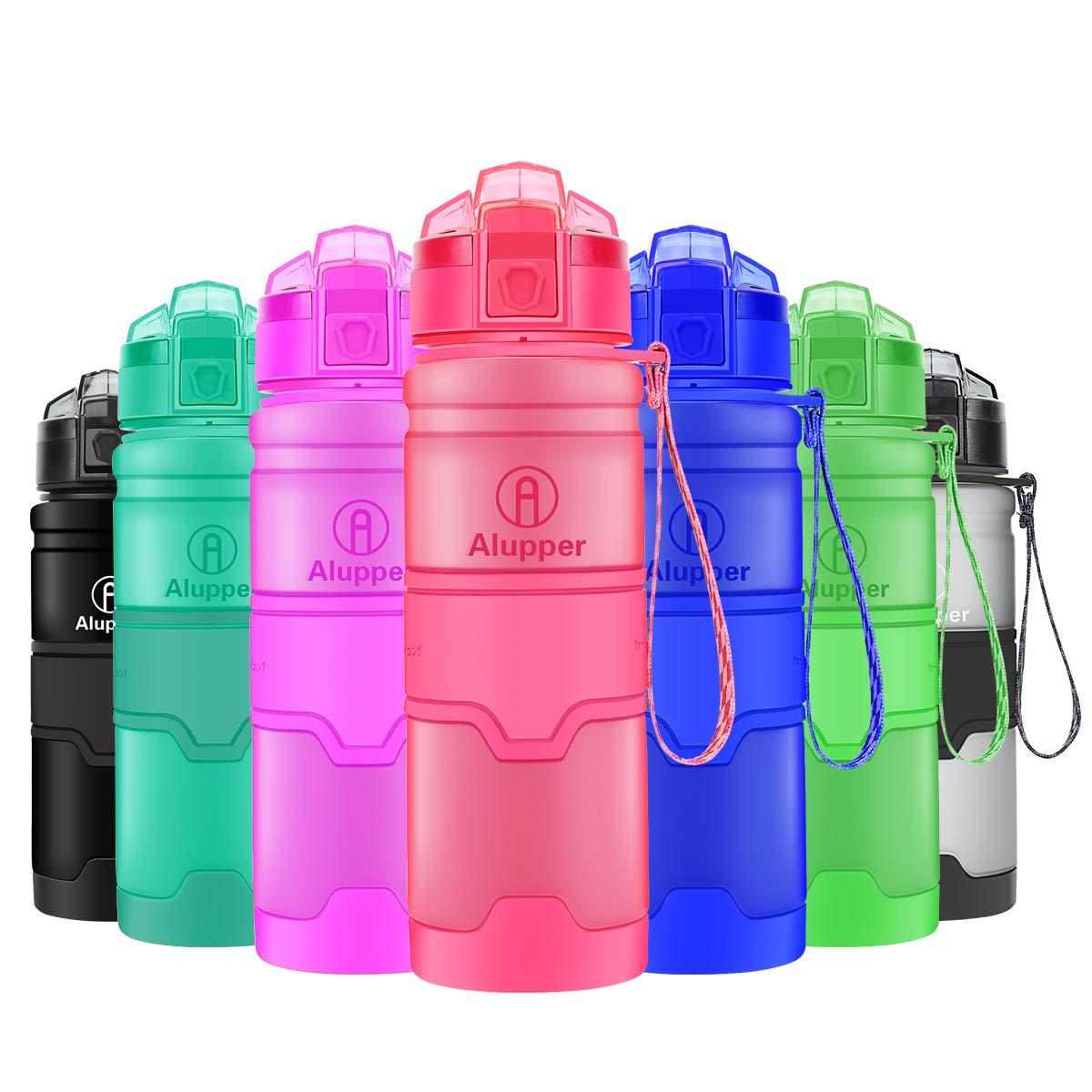 Alupper Botellas de Agua Prueba de Fugas Botellas Deportivas ecológicas Botellas Tritan sin BPA (Rosa