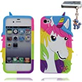 iPhone 4s Case, [ Flexible TPU and Durable ] Back Cover for iPhone 4 4G 16GB 32GB 64GB, Anti-Bumps, Fingerprint, Slips, iPhone 4 Cover Unicorn and Dustproof Plug