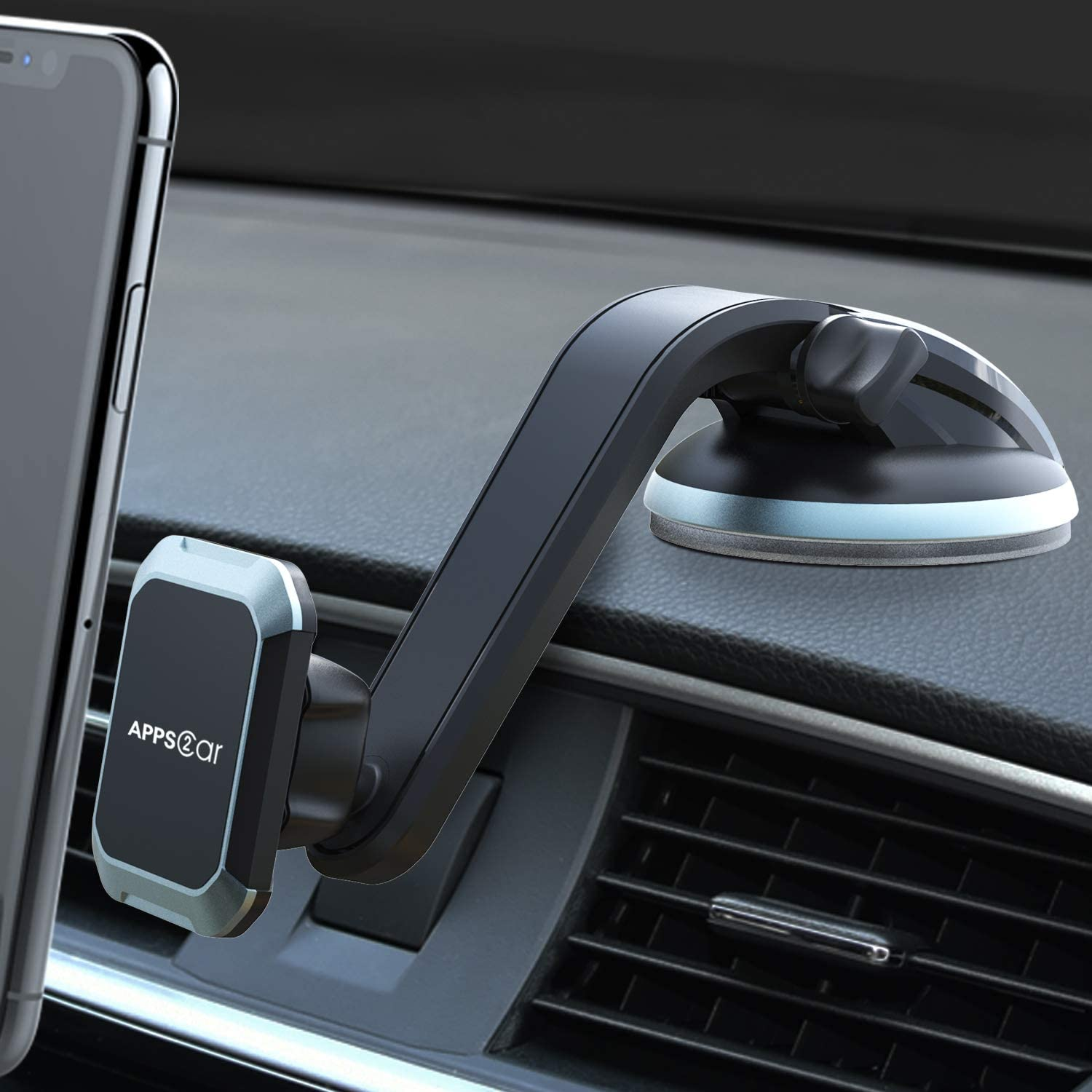 Magnetic Phone Mount APPS2Car Universal Magnetic Phone Car Mount Built-in Strong Magnets Windshield Dashboard Window Dash Magnetic Mount for Cell Phones