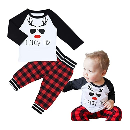 423cda5b0 Image Unavailable. Image not available for. Color: Baby Boy Christmas  Outfits Funny Print Long Sleeve + Plaid Pants ...