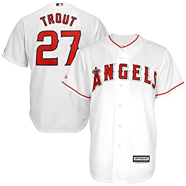 promo code 9431e 4a726 Majestic Mike Trout Los Angeles Angels of Anaheim MLB Youth White Home Cool  Base Replica Jersey