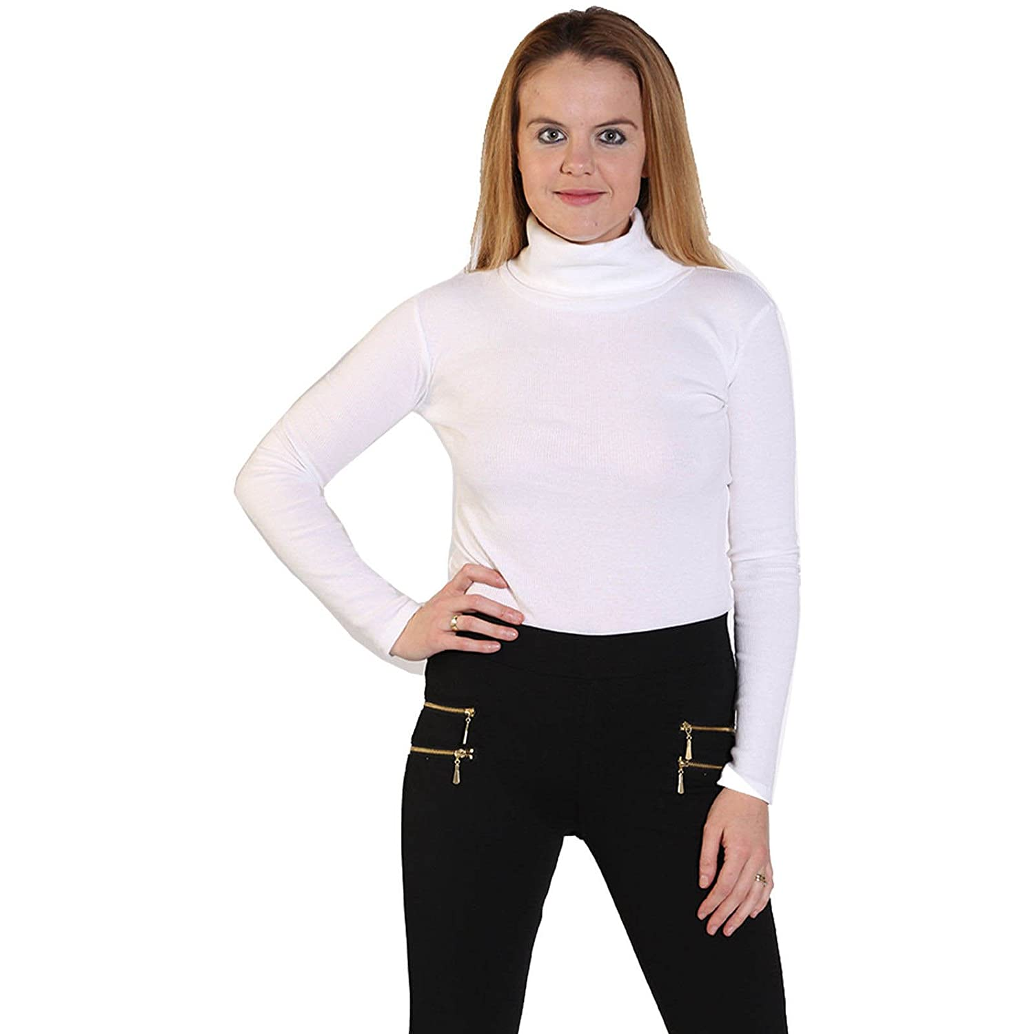 c837be2b4f143a LUSH CLOTHING-12A-LADIES COTTON RIBBED POLO ROLL NECK LONG SLEEVE JUMPER  TOP-UK SIZE 8-22 (M/L = UK 12-14, White): Amazon.co.uk: Clothing
