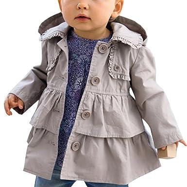 22b6637f3ce16 iiniim Kids Baby Girls Spring Trench Wind Dust Coat Hooded Jacket Outerwear  Grey 2T