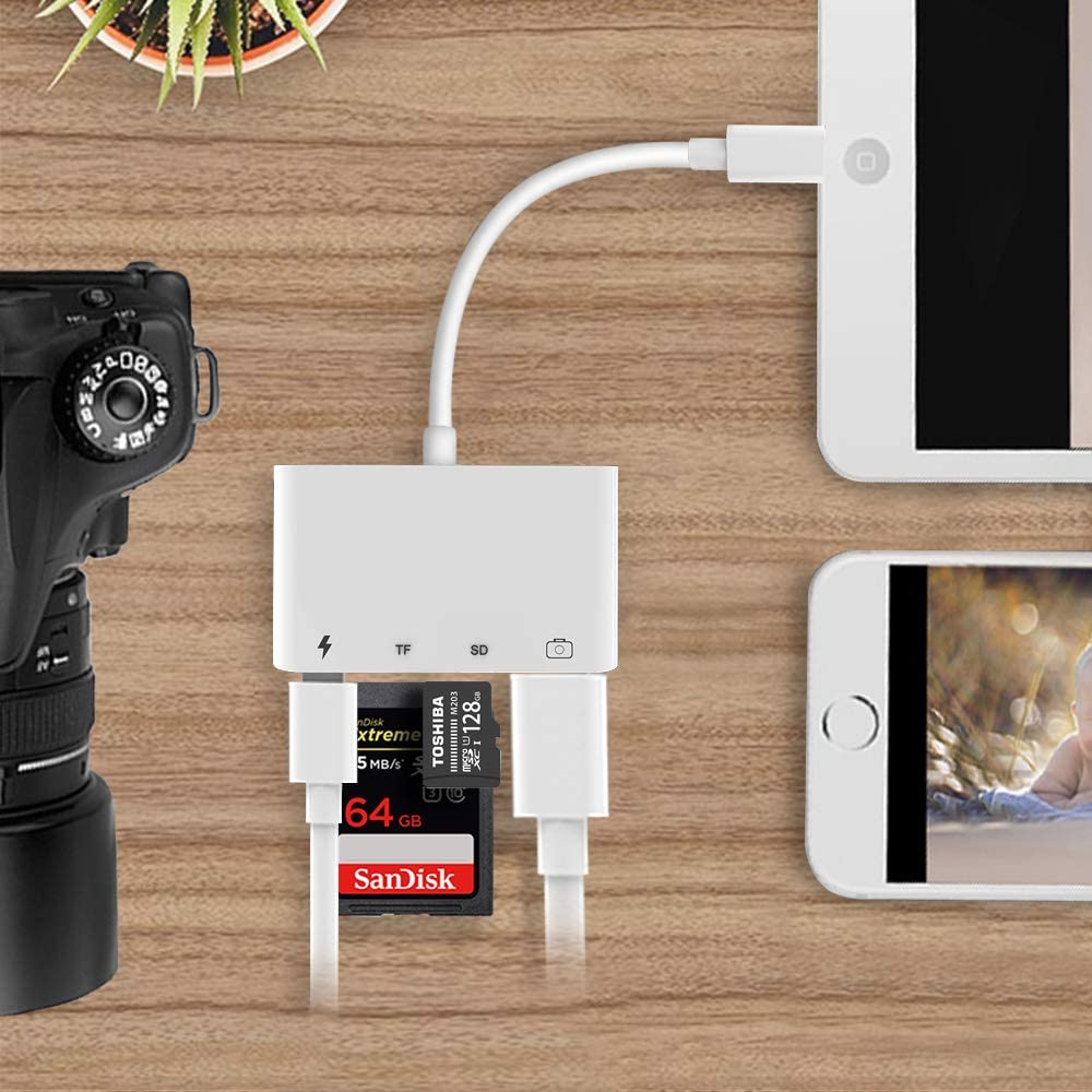 White SD TF Card Reader Adapter,4 in 1 USB OTG Camera Connection Kits Adapter with SD TF Card Reader and Charge Adapter for iPhone iPad,Support Newest iOS 13 or Above