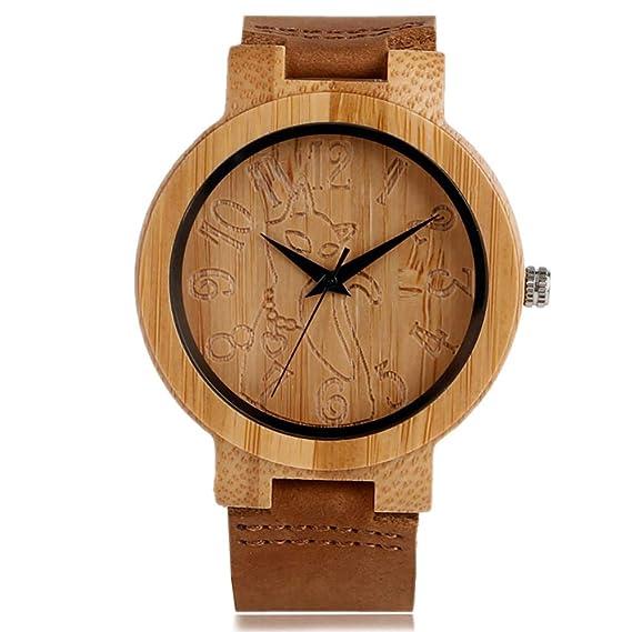 Reloj de Madera Vintage, Reloj de bambú para Mujer, Reloj de Madera para Gato, Pulsera de bambú: Amazon.es: Relojes