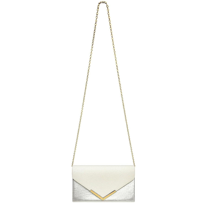 CASPAR TA430 Pochette de soir/ée XL pour femme//forme enveloppe//sac /à main m/étallique