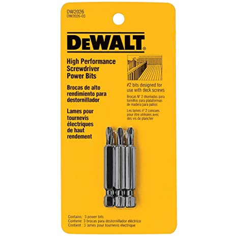 DEWALT DW2026 Deck 2-Inch Power Bit (3-Pack)