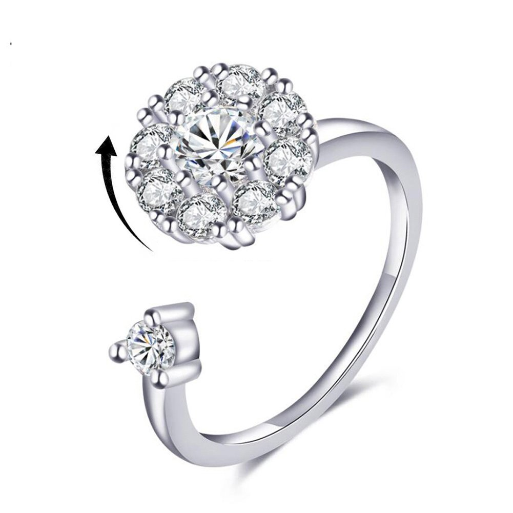 Bling Toman Cubic Zirconia Rings 925 Sterling Silver Ring for Girls Womens White Gold Spinner Rings Platinum Plated Anxiety Rings CZ Wrap Rings Mothers Gift (Silver Band Ring)
