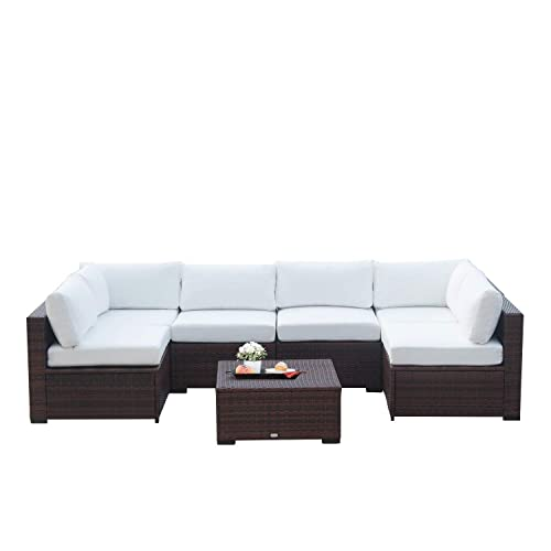 Auro Outdoor Furniture 7-Piece Sectional Sofa Set All-Weather Brown Wicker with Water Resistant Olefin Cushions for Patio Backyard Porch Pool Incl. Waterproof Cover Clips White