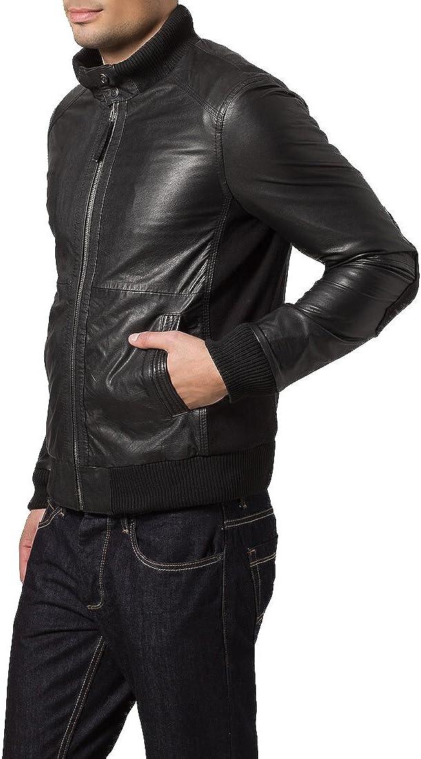 Mens Genuine Lambskin Leather Jacket Slim Fit Moto Biker Jacket T327