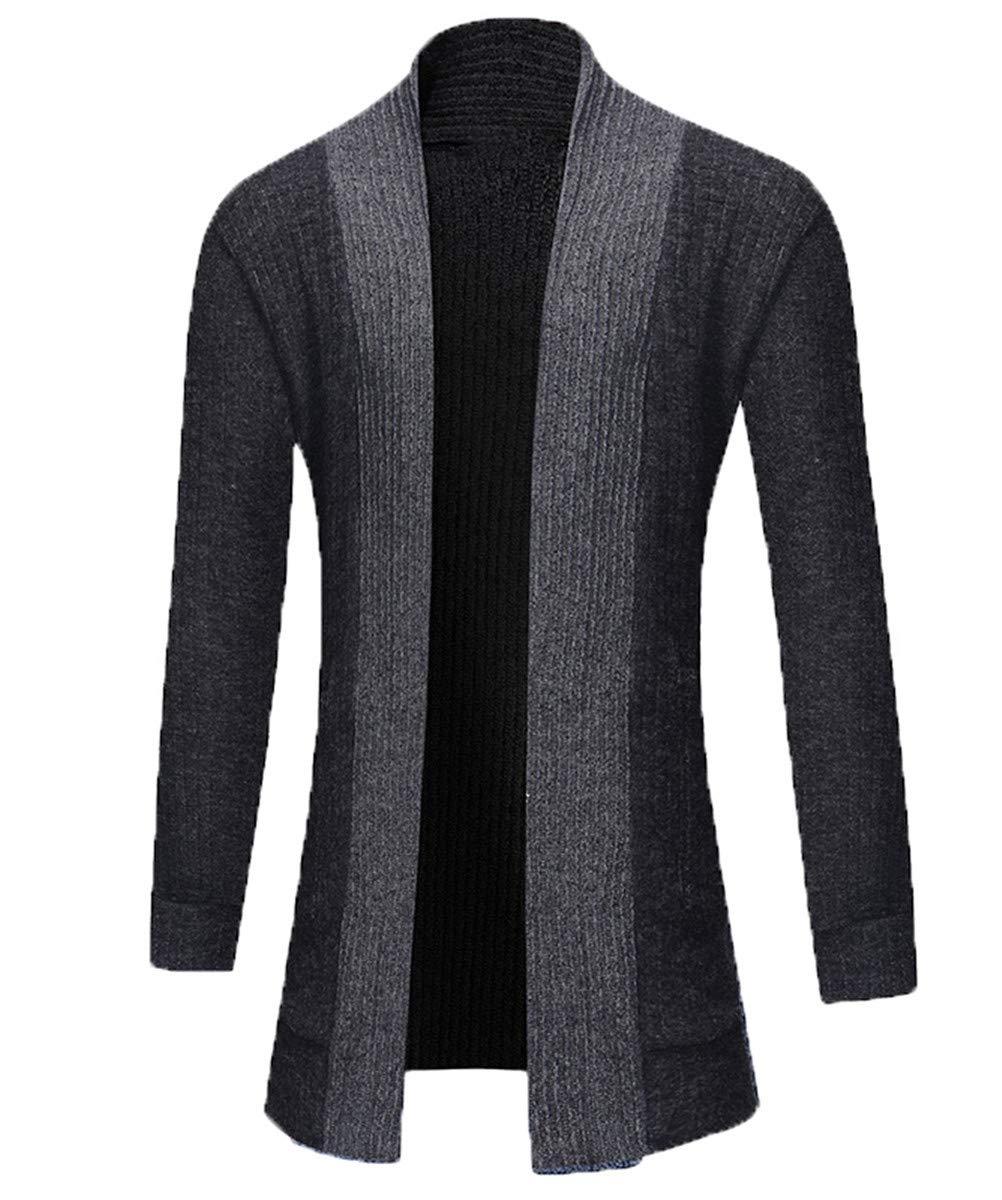 HHXWU Prendas de Punto Prendas de Punto Ocasionales Bolsillo Decorativos Cardigan de Hombre Camisa de Hombre, Caqui, M