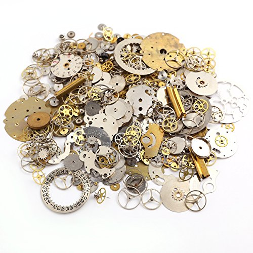 Surepromise 50g Cyberpunk Vintage Steampunk Jewelry Cogs Gears Wheels Watch Parts Craft Arts (Vintage Gears)