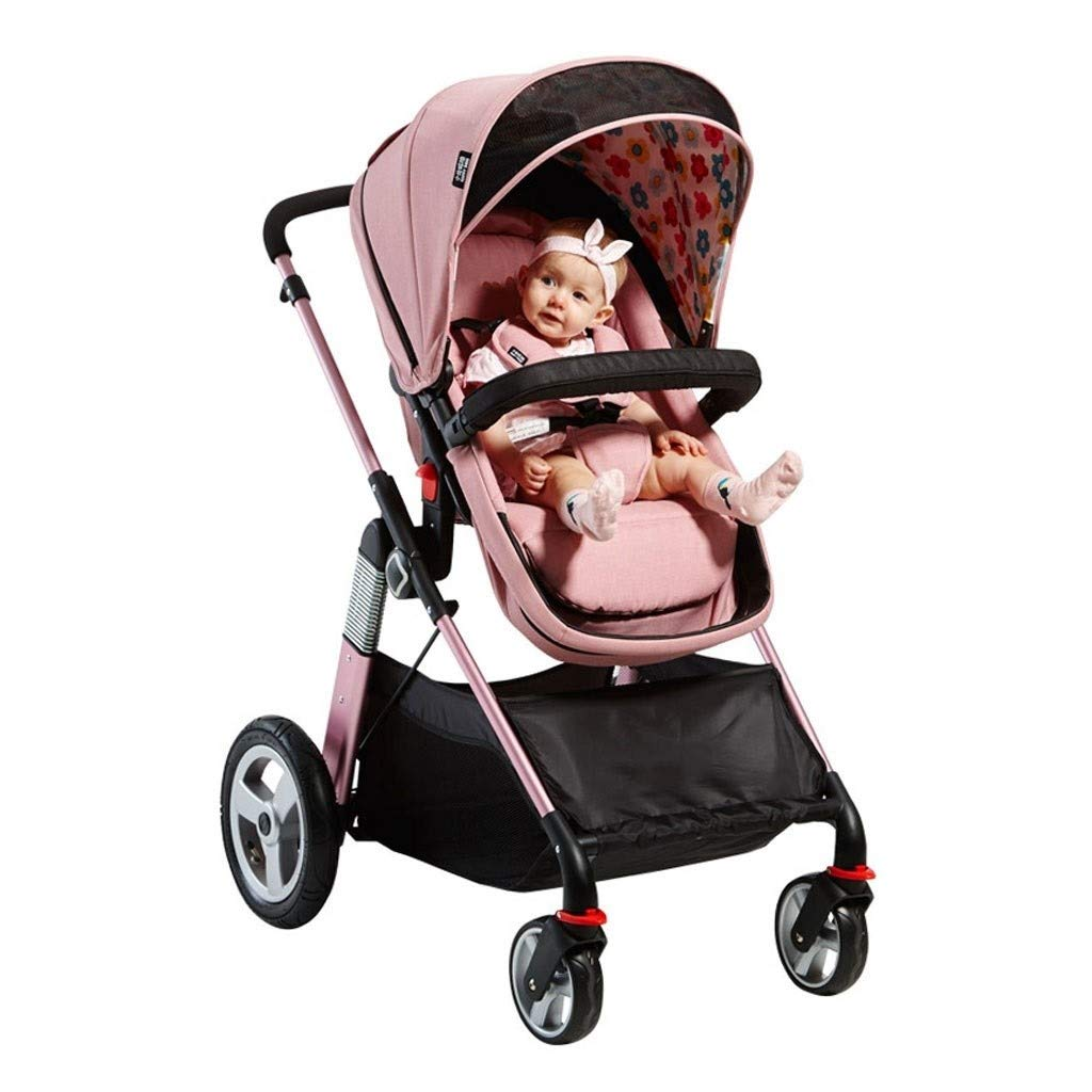 RJJX Home Baby Stroller Open Design Baby Stroller High Landscape Can Sit in Reclining Lightweight Folding Stroller (Suitable for 6 Months - 3 Years Old Baby) by RJJX Home