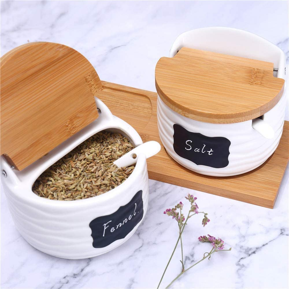 4.1 Lx3.14 Wx3.7 H//8.8 fl oz Pack of 2 Semicircle Ceramic Sugar Bowl with Lids and Spoons-Porcelain Condiment Container Spice Jar,Salt Cellar for Kitchen,with Chalkboard Labels