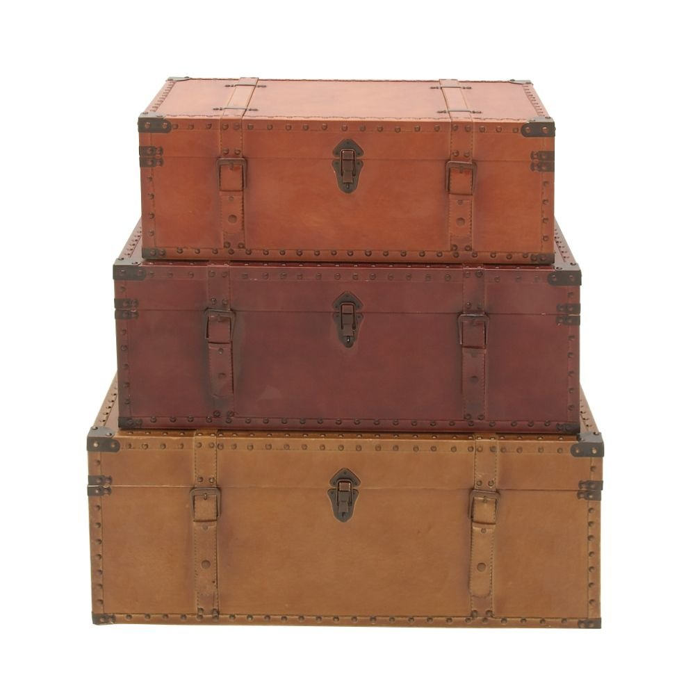 Deco 79 56670 Wood Leather Trunks (Set of 3), 32''/29''/26''