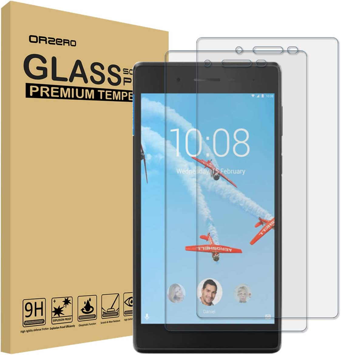 (2 Pack) Orzero for Lenovo Tab 7 Essential Tempered Glass Screen Protector, 9 Hardness HD Anti-Scratch (Lifetime Replacement)