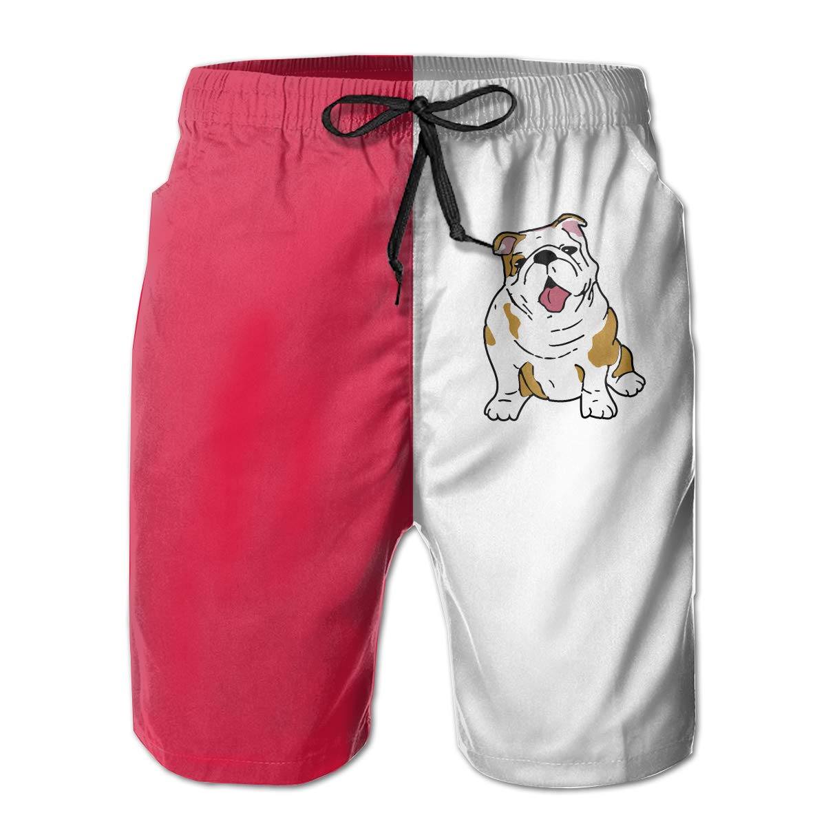 Polyester English Bulldog Board Shorts with Pockets Xk7@KU Mens Quick Dry Swim Trunks