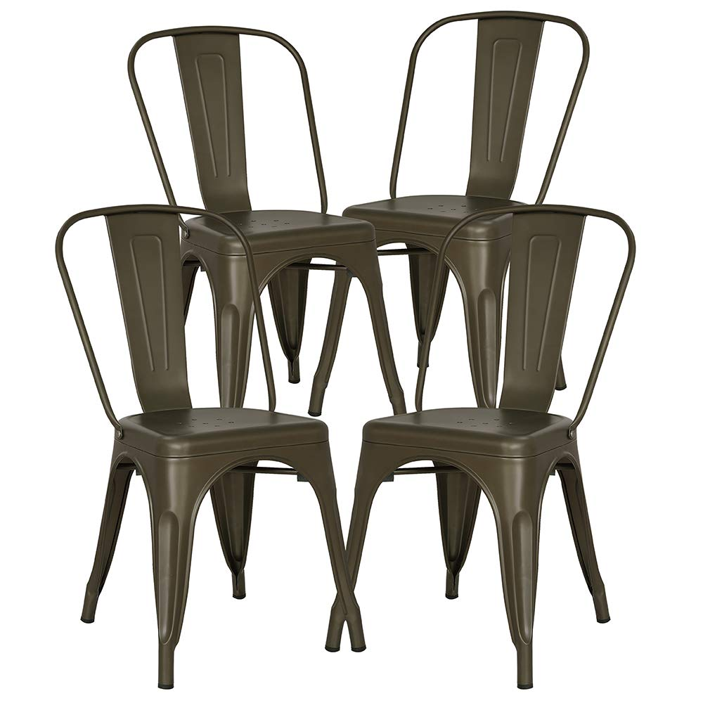 Poly and Bark Trattoria Kitchen and Dining Metal Side Chair in Bronze Set of 4