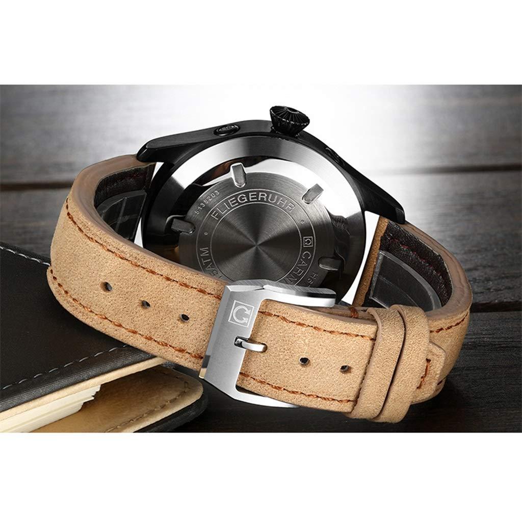 CARNIVAL herrklocka, automatiska mekaniska klockor mode frostat skal läderrem multifunktion vattenresistens armbandsur H675AG Brun