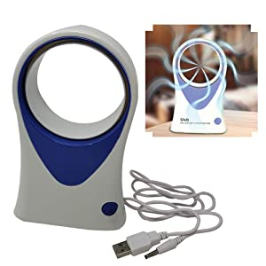 Bladeless Mini Cooling Fan Dual-Powered USB or Battery Operated | Desktop Fan for Cooling Breeze