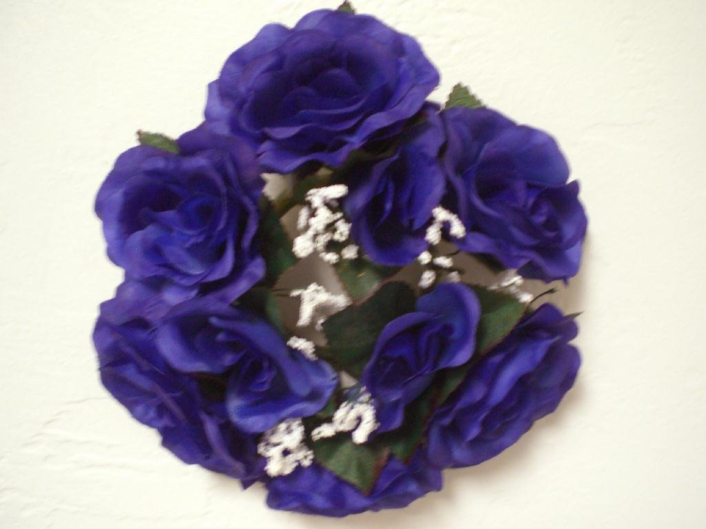 Amazon 3 Candle Rings Blue Purple Rose Artificial Silk Flowers