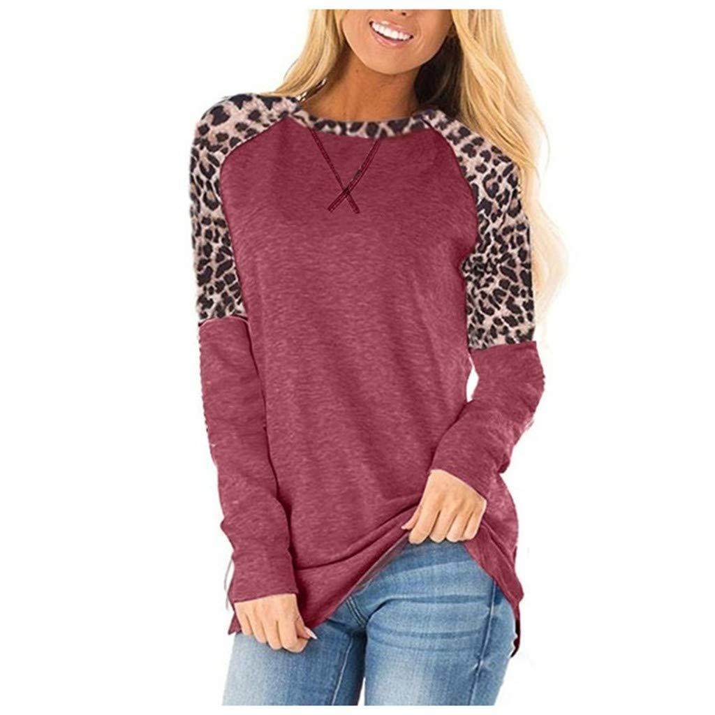 Tigivemen Ladies Fashion Winter Round Leopard Print Stitching Casual Top Blouse